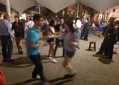 OrKidstra tries salsa dancing in a Mexico City square
