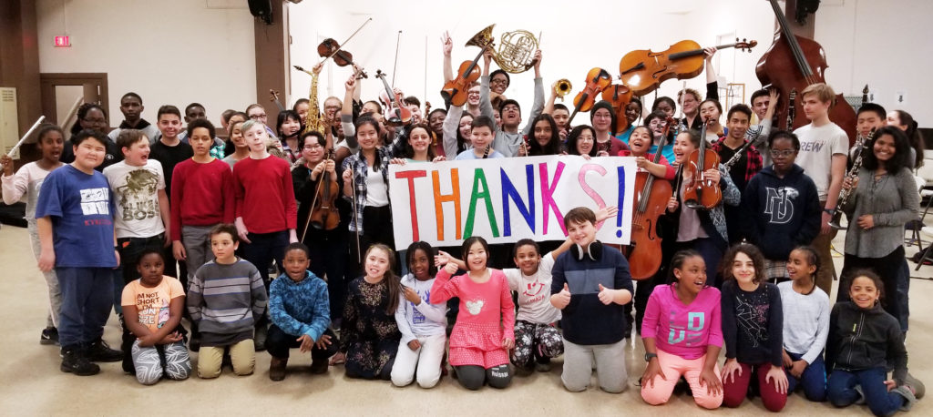 Thank you photo with the OrKidstra students from the Centretown Hub