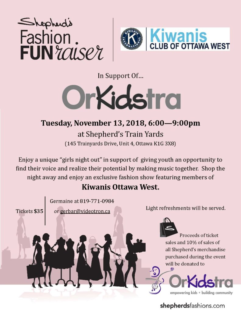 Poster for Kiwanis Club of Ottawa West event on Nov. 13, 2018