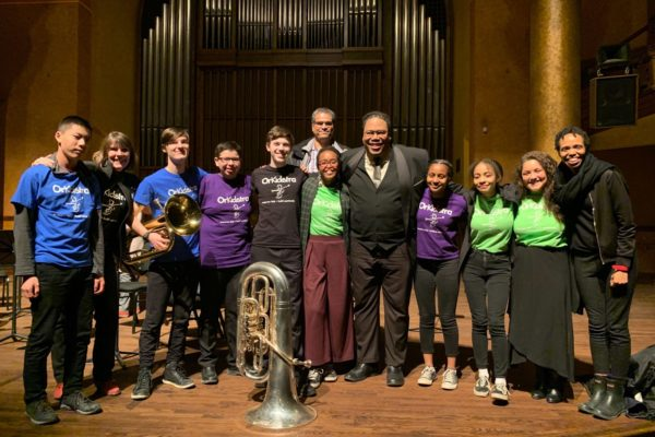 A photo of Dr. Richard A. White with OrKidstra